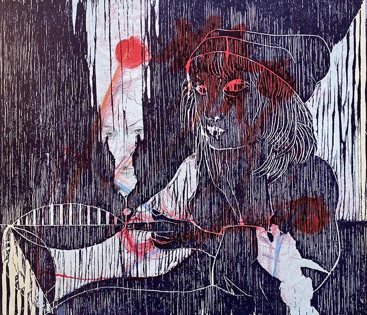 Uwe Poth, Fete 1, 2010-2019, painting, oil paint on linen, 30 x 30 cm, photo: Uwe Poth