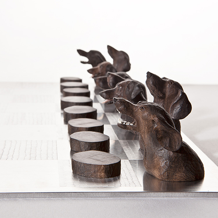 jutta kallfelz, no title, 2007-2008, chess, cherry wood, ebony, tigereye, mother of pearl, ivory, aluminium, (board) 500 x 500 x 4 mm