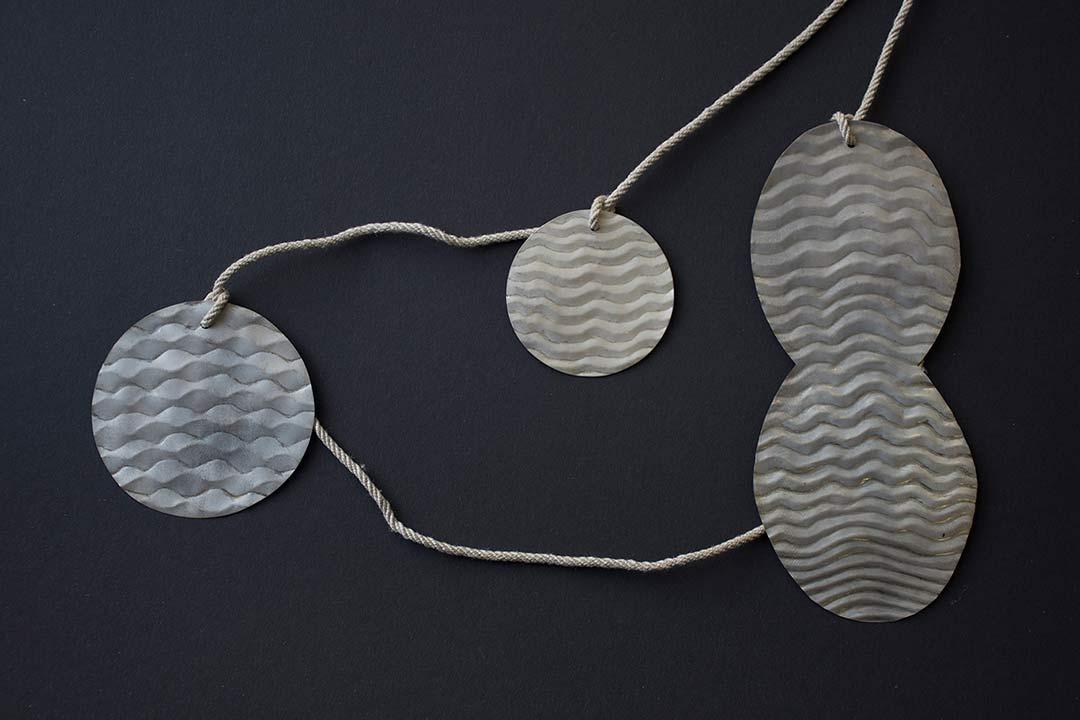 n.t., 2016, necklace, silver, linen cord - photo: klara brynge
