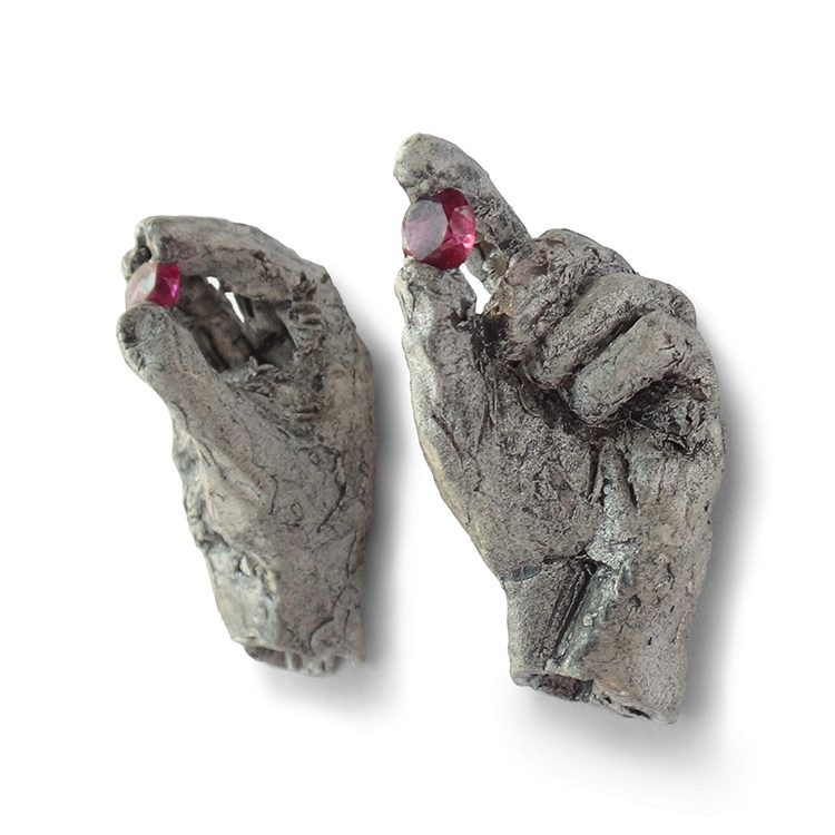 galerie door contemporary fine art and art jewellery mielle-harvey-Hands with Rubies Earrings