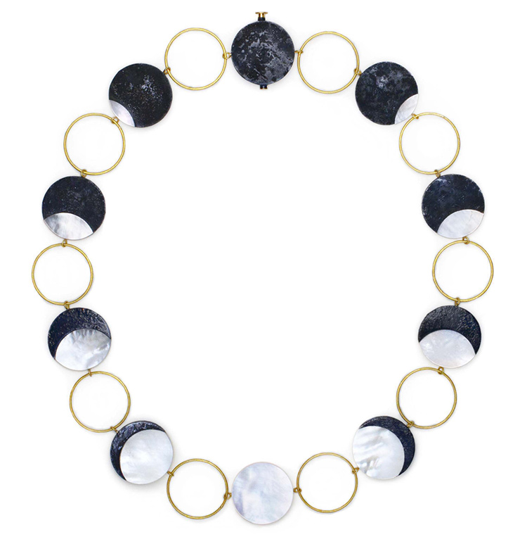 Eclipse, 2016, collier, niello on silver, mother of pearl, gold