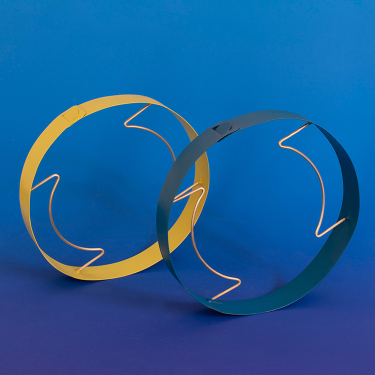 Typhaine le Monnier, Area of a circle: metal 2 & 3, 2019, necklace, wood, brass, paint - photo: Teresa Santos