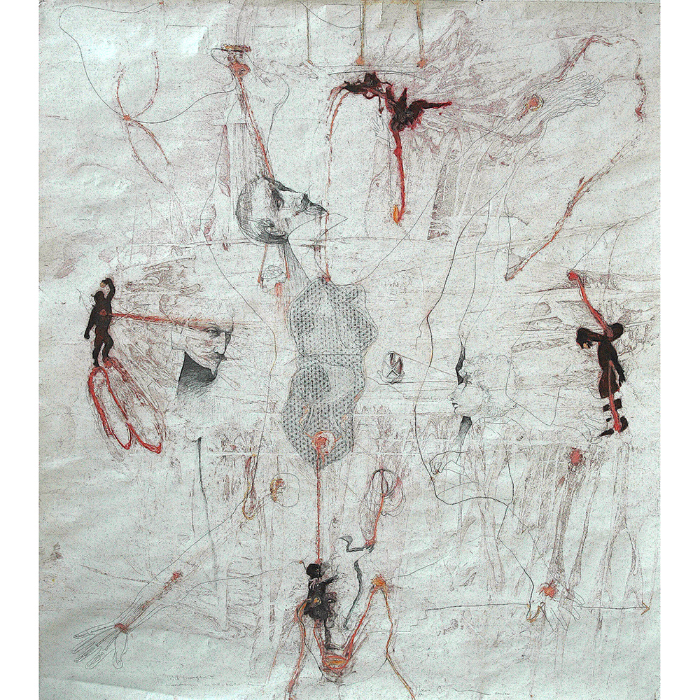 uwe poth, anatomische les, 2001, drawing, crayon and gouache on paper, 225 x 200 cm - photo: uwe poth